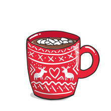 Vector Illustration, Red Mug With Cute Whiter Ornament And Hot Beverage Inside. Cup Of Hot Chocolate With Marshmallows. Cozy Evening Concept. Winter Mood Illustration For Kitchen, Restaurant And Cafe