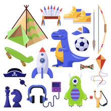 Boys Stuff, Toys And Personal Things. Vector Isolated Icons Set