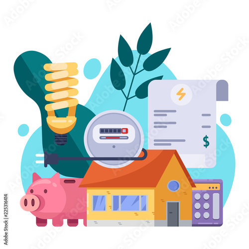Utility bills and saving resources concept. Vector flat illustration. Electricity invoice payment Wall mural