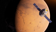 3d Rendered Illustration Of A Satelite Infront Of Mars