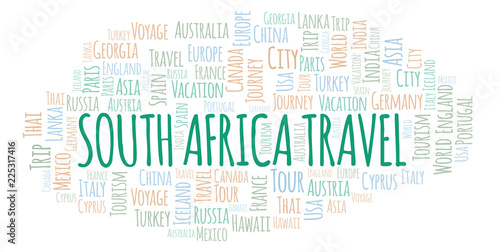 South Africa Travel word cloud.
