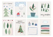 Merry Christmas Tree Snow Winter Season Set