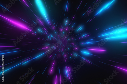Abstract flight in retro neon hyper warp space in the tunnel 3d illustration