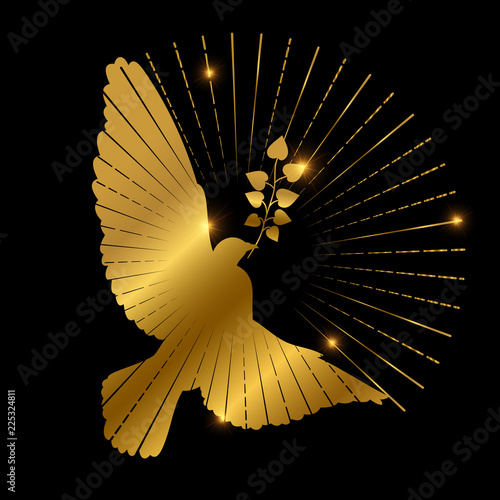 Carta da parati Golden dove of peace logo design