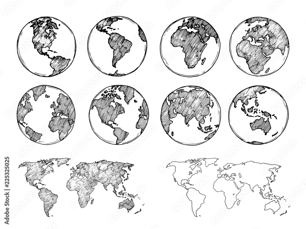 Szkic globu. Ręcznie rysowane planety ziemi z kontynentów i oceanów. Doodle ilustracji wektorowych mapy świata. Planeta i mapa świata szkic z oceanem i lądem