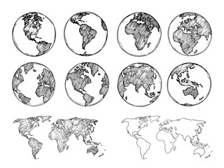 Globe sketch. Hand drawn earth planet with continents and oceans. Doodle world map vector illustration. Planet and world sketch map with ocean and land