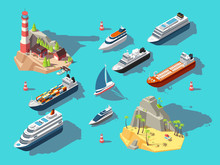 Isometric Ships. Boats And Sai...