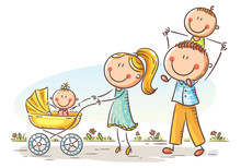 Happy Cartoon Family With Two Children Walking Outdoors