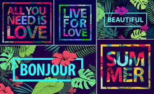 Vector Set Of Tropical Quotes, Posters And Banners. Modern Prints In Square Frames. Holiday Cards With Palm Leaves