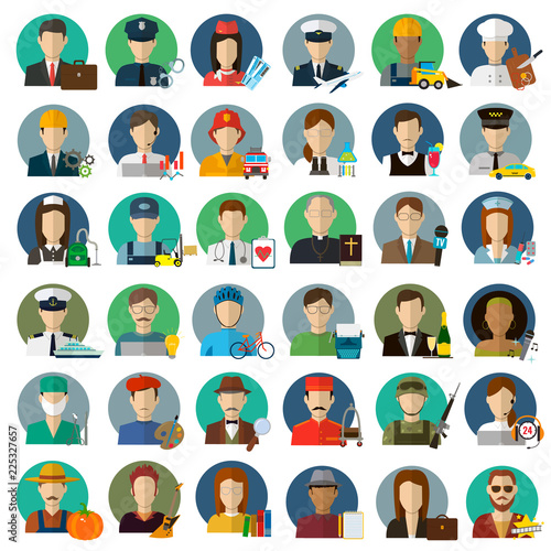 Obraz People of different occupations. Professions icons set. Flat design. Vector - fototapety do salonu