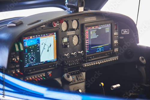 Photo View of the cockpit of a small private airplane