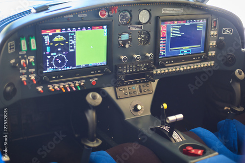 View of the cockpit of a small private airplane