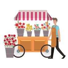 Man Seller Of Flowers In Kiosk Store Avatar Character