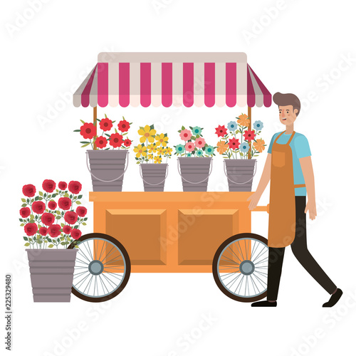 Fotomural man seller of flowers in kiosk store avatar character