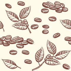 Fototapeta Do kawiarni Coffee beans and leaves, espresso, cappuccino vector seamless pattern in sketch style. Illustration of cacao bean, chocolate drawing ingredient