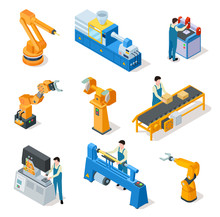 Industrial Robots. Isometric Machines, Assembly Line Elemets And Robotic Arms With Workers. 3d Manufacturing Technologies Vector Set. Robot Mechanical Automation, Machine Production Illustration