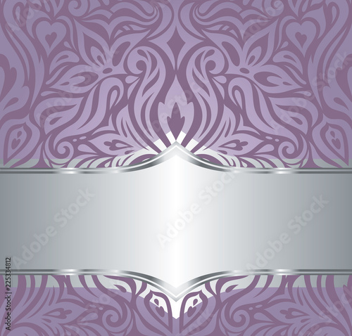 Wedding Floral Violet Silver Vector Holiday Background