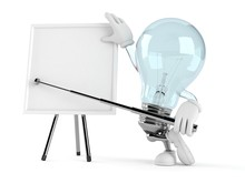 Light Bulb Character With Blank Whiteboard