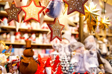 Different Decoration, Toy For Xmas Tree On Christmas Market, Close Up Of Cozy Handmade Gingerbread Stars