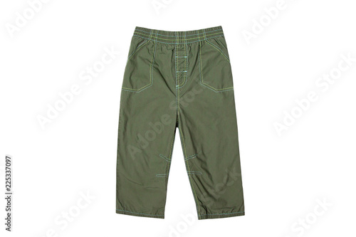 Green pants on an elastic band isolated on a white background