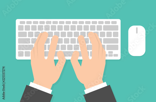 Fotomural Hands on computer keyboard
