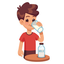 Boy Drinks Milk. Kid Holding And Drinking Milk In Glass. Milk Products For Healthy Children Vector Concept. Boy With Milk Drinking, Illustration Cartoon Young Child Healthy