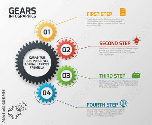 Fototapeta Gears infographics. Cogs gearing process planning, timeline and engineering infochart with options vector presentation template. Chart process, infochart data plan gear illustration obraz