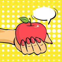 Hand Holding Red Apple With Speech Bubble.