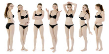 Pretty Teenage Girl In Bikini As A Photomontage With Different Poses And Emotions