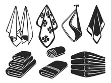 Black Towels Vector Set Icons....