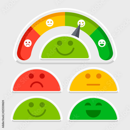 Fotografie, Obraz  Flat emotions mood scale colored vector of set illustration flat