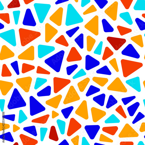 Colorful stained glass triangle shape mosaic geometric seamless pattern, vector Canvas Print