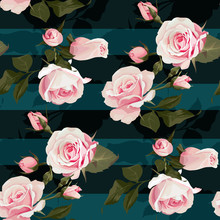 Pink Roses Vector Seamles Pattern. Realistic Flowers On Stripes Background, Floral Textures