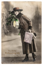 Young Woman Christmas Tree Gifts Vintage Picture