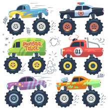 Monster Cars. Cartoon Cars Wit...