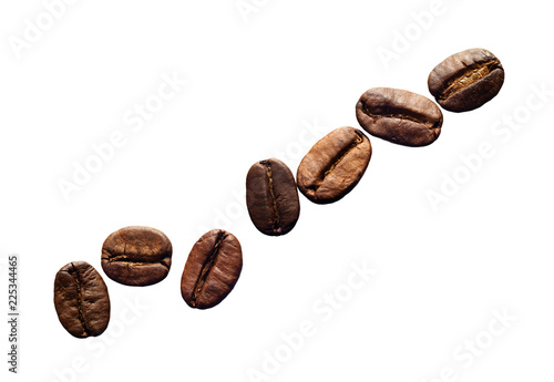Poster Café en grains coffee grains isolated on white background close-up. there is a way