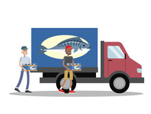 Truck With Fish Delivery. Peop...