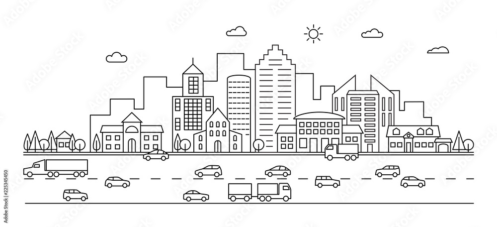 Fototapeta Line city. Outline town street with buildings and cars. Modern vector doodle cityscape and transportation. Illustration of town and city street line