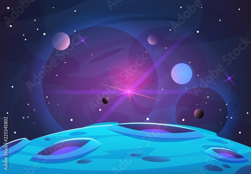 Space and planet background. Planets surface with craters, stars and comets in dark space. Vector illustration. Space sky with planet and satellite