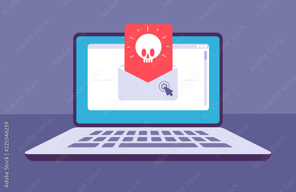 Fototapeta Email virus. Envelope with malware message with skull on laptop screen. E-mail spam, phishing scam and hacker attack vector concept. Spam threat on laptop, virus online malware illustration