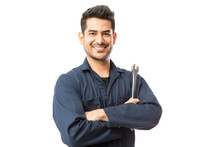 Mechanic With Wrench Standing Hands Folded On White Background