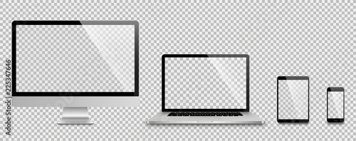 fototapeta na lodówkę Realistic set of monitor, laptop, tablet, smartphone - Stock Vector illustration