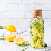 Fresh Cool Lemon Thyme Infused Water Detox Drink