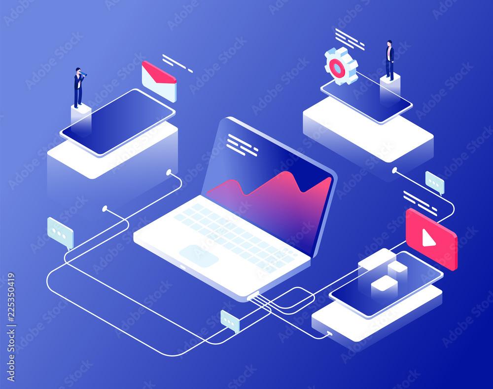 Fototapeta Network and affiliate marketing concept. Referral programs business clients recommendation. Internet revenue isometric background. Affiliate management internet line illustration