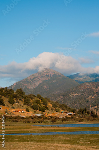 Deurstickers Blauw landscape with mountains and blue sky