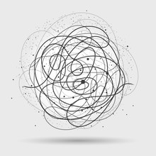 Chaos Wires. Tangled Wire Circle Vector Illustration, Scribble Lines Clutter Abstract Background