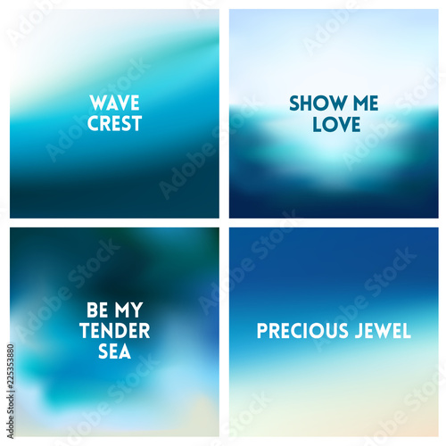 abstract vector beach blurred background set colors set square