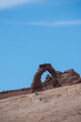 View of Delicate Arch in Arches National Park during a sunny day