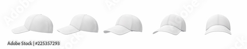 Fotografia  3d rendering of five white baseball caps shown in one line from side to front view on a white background