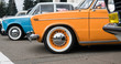 chrome parts of vintage cars